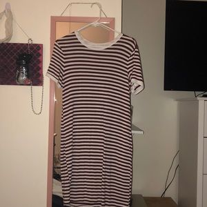 maroon and white striped dress, crew neck.